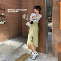 skirt Summer 2021 S. M, l, s 12 working days, m 12 working days, l 12 working days Black, fruit green Mid length dress commute High waist skirt Solid color Type A 25-29 years old 71% (inclusive) - 80% (inclusive) cotton Irregular skirt Korean version