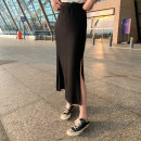 skirt Summer 2020 S,M,L Gray, black longuette commute High waist Solid color Type A 25-29 years old Korean version