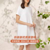 Dress Summer 2021 Black, white, haze blue, grapefruit, dark purple S,M,L Middle-skirt singleton  Short sleeve commute Crew neck Loose waist Solid color Socket other routine Others Type H Other / other Simplicity Y20BLA1373Y More than 95% cotton