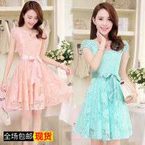 Dress Summer of 2018 Blue, pink, safety pants, white S,M,L,XL,3XL,XXL Middle-skirt other Short sleeve commute other middle-waisted Solid color Socket Big swing routine Others 18-24 years old Other / other Korean version 51% (inclusive) - 70% (inclusive) other other