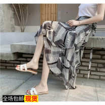 skirt Summer of 2019 You can wear both fat and thin (85-140 kg) Red stripe, black stripe, light blue flower, doghead T-shirt Mid length dress Natural waist Irregular lattice Chiffon Other / other