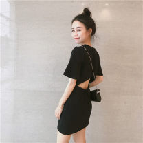 Dress Summer 2021 black M. L, XL, 2XL, XXS pre-sale longuette singleton  Short sleeve commute Crew neck middle-waisted Solid color Socket A-line skirt routine 18-24 years old Type A Korean version Hollowing out 81% (inclusive) - 90% (inclusive) other other