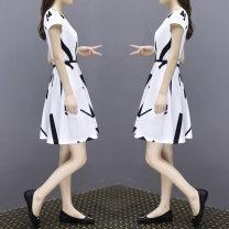 Dress Summer 2020 white S. M, l, XL, 2XL, 3XL, XXXs pre-sale Mid length dress singleton  Short sleeve commute Crew neck Socket routine Korean version 81% (inclusive) - 90% (inclusive)