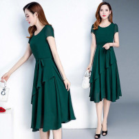 Dress Summer 2020 Green, Navy, Burgundy, white leggings M,L,XL,2XL,3XL,XXXL Mid length dress singleton  Short sleeve commute Crew neck middle-waisted Solid color Socket Princess Dress routine Others 18-24 years old Type A Other / other Korean version 81% (inclusive) - 90% (inclusive) other