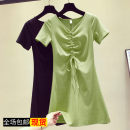Dress Summer of 2019 Green, black, safety pants, white S,M,L,XL,2XL Mid length dress singleton  Short sleeve commute V-neck Solid color Socket routine Other / other Korean version 81% (inclusive) - 90% (inclusive)