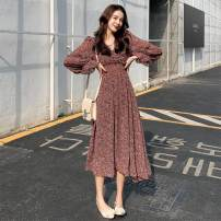 Dress Spring 2021 Purple Floral Skirt, apricot floral skirt, white leggings M,L,XL,XXL longuette singleton  Long sleeves commute V-neck High waist Broken flowers Socket Irregular skirt routine Korean version 81% (inclusive) - 90% (inclusive) Chiffon