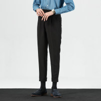 Casual pants Others Business gentleman The atmosphere is black 29,30,31,32,33,34,36 routine Ninth pants Other leisure Straight cylinder Micro bomb summer youth Business Casual 2020 High waist Straight cylinder Tapered pants Hem at hem Solid color polyester fiber polyester fiber Non brand