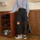 Women's large Summer 2020, autumn 2020 black Large L, large XL, s, m, 2XL, 3XL, 4XL Jeans singleton  commute easy moderate Solid color Korean version Denim Hand abrasion 18-24 years old pocket Ninth pants
