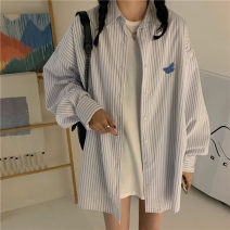 Women's large Autumn 2020 white Large L, large XL, m, 2XL, 3XL, 4XL commute Long sleeves stripe Korean version Polo collar Medium length other routine 18-24 years old 30% and below
