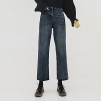 Women's large Winter 2020, autumn 2020 blue Large L, large XL, s, m, 2XL, 3XL, 4XL Jeans singleton  commute Straight cylinder moderate Solid color Korean version Denim Three dimensional cutting 18-24 years old pocket Ninth pants 161g / m ^ 2 (including) - 180g / m ^ 2 (including)