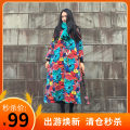 Dress Autumn of 2018 Autumn, cotton lining, winter, plush lining One size fits all, s, suitable for less than 120 kg, XL, suitable for more than 150 kg Mid length dress singleton  Nine point sleeve commute Crew neck Loose waist Decor Socket Big swing routine Others 40-49 years old Type A Self made