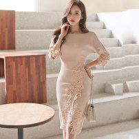 Dress Autumn of 2019 Picture color S,M,L,XL Miniskirt singleton  three quarter sleeve commute Crew neck middle-waisted Solid color Socket One pace skirt other Others Other / other Korean version 81% (inclusive) - 90% (inclusive) brocade nylon