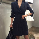Dress Autumn of 2018 Navy blue stripe, gray grid S,M,L,XL Other / other