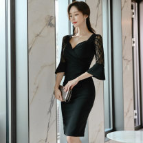 Dress Autumn 2020 black S,M,L,XL Middle-skirt singleton  Long sleeves commute V-neck middle-waisted Solid color zipper One pace skirt routine Others 25-29 years old Type H zipper brocade polyester fiber