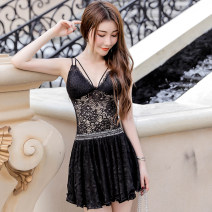 Dress Summer of 2019 Black, white S,M,L,XL,2XL Short skirt singleton  Sleeveless Sweet V-neck High waist Solid color Socket Princess Dress camisole Type A Cut out, lace 3185 LY 91% (inclusive) - 95% (inclusive) Bohemia