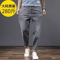 Jeans Youth fashion Chaopai chubby brother Light blue, smoke grey Thin money Micro bomb Thin denim ZJ-9308 Ninth pants Other leisure Cotton 73.7% polyester 23.8% viscose (viscose) 1.5% polyurethane elastic (spandex) 1% summer Large size Medium high waist Haren pants tide 2021 Little straight foot