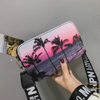 Bag Inclined shoulder bag PU Small square bag Mesroti Sunset sunset brand new Fashion trend Small leisure time soft zipper no Plants and flowers Single root Straddle shoulder nothing youth Horizontal square printing Soft handle Certificate bag printing