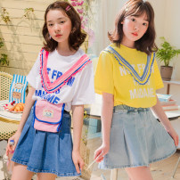 suit Other / other White T-shirt + dark blue skirt pants, yellow T-shirt + light blue skirt pants 110cm,120cm,130cm,140cm,150cm,160cm female summer Korean version Short sleeve + skirt routine There are models in the real shooting nothing Solid color other Class B Other 100% Chinese Mainland