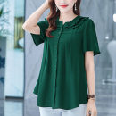 shirt Blue, red, green, black M,L,XL,2XL,3XL,4XL,5XL Summer 2021 polyester fiber 81% (inclusive) - 90% (inclusive) Short sleeve Versatile Regular Lotus leaf collar Single row multi button routine Solid color 35-39 years old Self cultivation Lotus leaf edge Chiffon