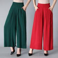 Casual pants Red, dark green, khaki, coffee, Navy, black, black wavy 2XL,3XL,4XL Summer of 2018 Ninth pants Wide leg pants High waist commute Thin money 40-49 years old 51% (inclusive) - 70% (inclusive) cotton Korean version cotton