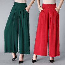 Casual pants Red, dark green, khaki, coffee, Navy, black, black wavy 2XL,3XL,4XL Summer of 2018 Ninth pants Wide leg pants High waist commute Thin money 40-49 years old 51% (inclusive) - 70% (inclusive) cotton Korean version cotton