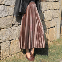 skirt Spring 2021 M. L, XL, 2XL, 3XL, collection and purchase, baby priority delivery Black [with lining], champagne [with lining], olive [with lining], silver grey [with lining] Mid length dress commute High waist Pleated skirt Solid color Type A 18-24 years old More than 95% other Other / other