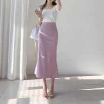 skirt Summer 2020 S,M,L Khaki, pink Mid length dress commute High waist skirt Solid color Type H 25-29 years old X19509 81% (inclusive) - 90% (inclusive) other other zipper Korean version 401g / m ^ 2 (inclusive) - 500g / m ^ 2 (inclusive)