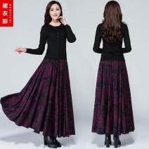 skirt Winter 2017 S. M, l, XL, 2XL, custom shot longuette Versatile High waist Pleated skirt Decor Type A 51% (inclusive) - 70% (inclusive) brocade nylon Pocket, print