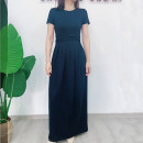 Dress Summer 2020 blue XXS Mid length dress Short sleeve Crew neck Solid color 25-29 years old Type A Shining Crown HS019 More than 95% cotton