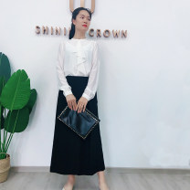 Casual pants black S,M,L Summer 2020 trousers Wide leg pants High waist Versatile routine 30-34 years old 96% and above polyester fiber polyester fiber