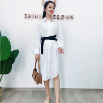 Dress Summer 2020 white M, L Mid length dress singleton  Long sleeves High waist Solid color Single breasted A-line skirt 25-29 years old Type A Shining Crown HS021 More than 95% cotton