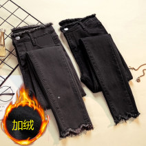 Women's large Spring 2021 Dark grey, black, dark grey plush, black plush Large XL, large XXL, large XXL, large XXXXL, large L, M Jeans singleton  commute Self cultivation moderate Solid color Korean version Denim, cotton Three dimensional cutting Jingqianni 25-29 years old pocket Ninth pants rivet