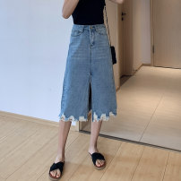 Women's large Summer 2021 blue Big M [recommended 90-100 kg], big l [recommended 100-120 kg], big XL [recommended 120-140 kg], big 2XL [recommended 140-160 kg], big 3XL [recommended 160-180 kg], big 4XL [recommended 180-200 kg] skirt singleton  street easy moderate Solid color Denim w14#2 Jingqianni