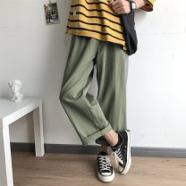 Women's large Autumn 2020 Black, apricot Big L, big XL, big XXL, big XXXL, big XXXXL, big s, M trousers singleton  commute easy moderate Solid color Korean version Cotton, hemp, others Three dimensional cutting ZC-9058 Yao Yi 18-24 years old pocket 71% (inclusive) - 80% (inclusive) Ninth pants