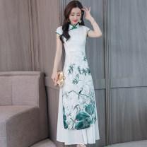 Dress Summer of 2019 Black, green longuette singleton  Short sleeve commute V-neck High waist Architecture Socket A-line skirt routine Others Type A Korean version printing