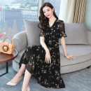 Dress Summer of 2019 black Mid length dress singleton  Short sleeve commute V-neck High waist Decor Socket A-line skirt Lotus leaf sleeve Others Type A Korean version Stitching, resin fixation, printing Chiffon