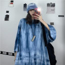 T-shirt Black, blue L,XL,2XL,3XL,4XL Summer 2021 Short sleeve Crew neck easy Regular routine commute cotton 30% and below 18-24 years old Korean version originality Geometric pattern Print, tie dye