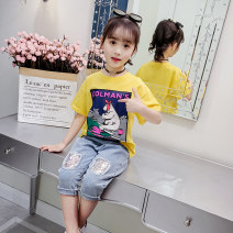 T-shirt Red hippo, yellow polar bear, Blue Lady leopard 120,130,140,150,160 Summer of 2019 Short sleeve Crew neck Regular routine cotton 51% (inclusive) - 70% (inclusive) Under 17 Other / other