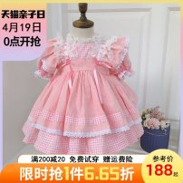 Dress Pink female Beautiful Beite 80cm ([80] height 66-75cm April November) 90cm ([90] height 75-85cm 1-2 years old) 100cm ([100] height 85-95cm 2-3 years old) 110cm ([110] height 95-105cm 3-4 years old) 120cm ([120] height 105-115cm 4-5 years old) 130cm ([130] height 115-125cm 5-6 years old) summer