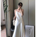 Dress Summer 2021 White, black, champagne S,M,L,XL longuette singleton  Sleeveless commute V-neck Loose waist Solid color Socket A-line skirt other camisole 25-29 years old Type A Other / other Korean version 81% (inclusive) - 90% (inclusive) Silk and satin polyester fiber