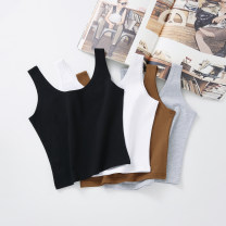 Vest sling Summer 2020 S,M,L,XL singleton  have cash less than that is registered in the accounts Self cultivation commute I-shaped Solid color 96% and above cotton A065