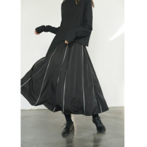 skirt Summer 2021 Average size black Mid length dress commute Natural waist Irregular Solid color Type A 25-29 years old other nylon Simplicity