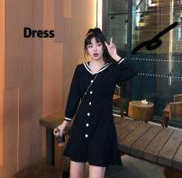 Women's large Autumn of 2019 black Large L, large XL, m, 2XL, 3XL, 4XL Dress singleton  street easy moderate Cardigan Long sleeves stripe Medium length Middle-skirt navy