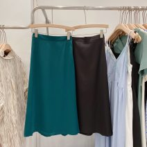 skirt Summer 2021 S, M Black, green Middle-skirt Versatile High waist A-line skirt Solid color Type A 18-24 years old More than 95% Chiffon nylon Zipper, fold