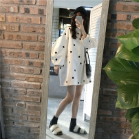 Dress Spring 2021 Average size Mid length dress singleton  Long sleeves commute Crew neck Loose waist 18-24 years old Korean version