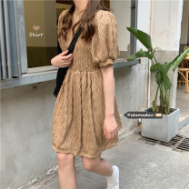Dress Summer 2021 Apricot, coffee Average size Short skirt singleton  Long sleeves commute Crew neck Loose waist Solid color zipper 18-24 years old Korean version pocket