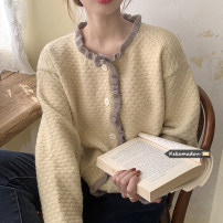 Wool knitwear Spring 2021 Average size Apricot, Navy Long sleeves singleton  Cardigan other 31% (inclusive) - 50% (inclusive) Regular commute easy routine Single breasted Korean version 18-24 years old