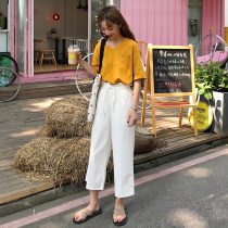 Casual suit Summer of 2018 Yellow T-shirt White T-Shirt Pink T-Shirt Navy Pants pink pants white pants yellow T-shirt + White Pants White T-Shirt + Navy Pants pink t-shirt + pink pants Average size 18-25 years old six thousand nine hundred and two Other / other