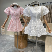 Dress Spring 2021 White, pink, black Average size Mid length dress singleton  Short sleeve commute V-neck High waist Solid color Single breasted A-line skirt puff sleeve 18-24 years old Type A First Sight 31% (inclusive) - 50% (inclusive)
