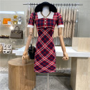Dress Spring 2021 gules Average size Mid length dress singleton  Short sleeve commute Polo collar High waist lattice Socket A-line skirt routine 18-24 years old Type A First Sight 31% (inclusive) - 50% (inclusive)